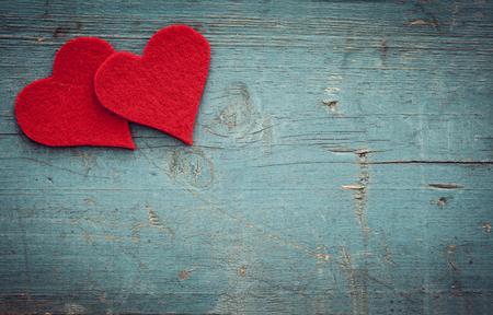 Valentines day hearts on wooden background Foto de archivo