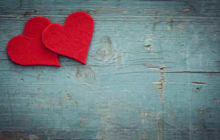 heart in love: Valentines day hearts on wooden background Stock Photo