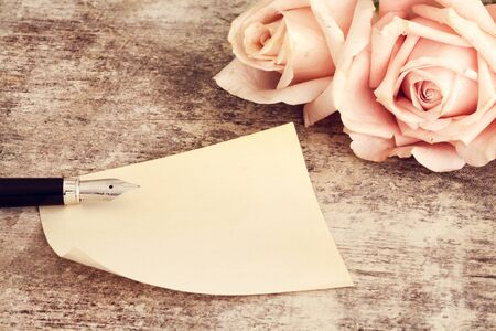 pencil and paper: Pink roses with paper and fountain pen