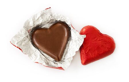 high day: Heart chocolate on white Stock Photo