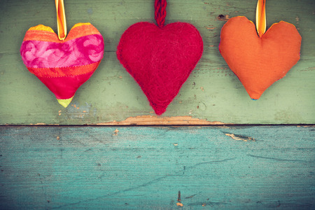 hearts background: Love hearts on wooden background Stock Photo