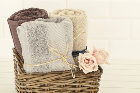 baskets: Towels and rose Stock Photo