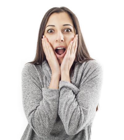 wonderment: Surprised girl Stock Photo