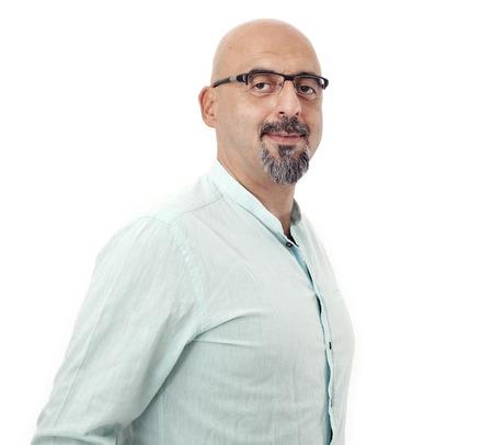 Portrait of man on white background 스톡 콘텐츠
