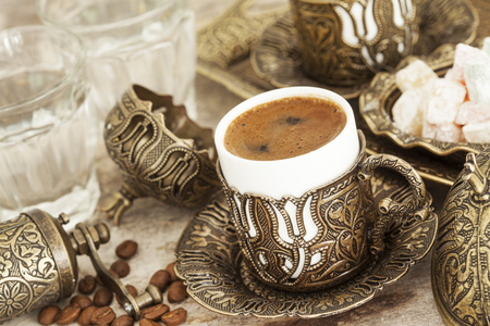 glass cup: A cup of turkish coffee Stock Photo