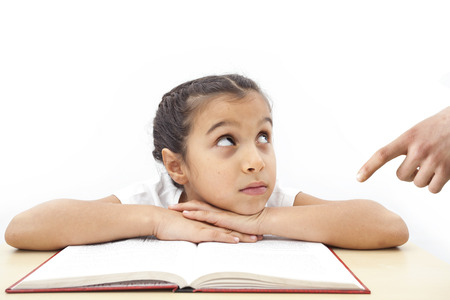 angry kid: Lazy student girl and angry father Stock Photo