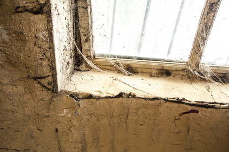 decadence: Old dusty window in the wall with cobweb