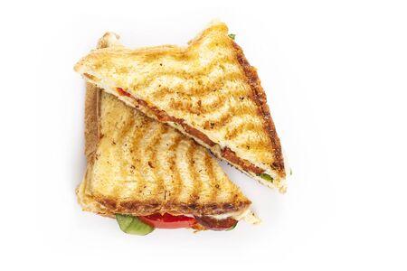 queso fresco blanco: tostadas de Turquía con queso cheddar Foto de archivo