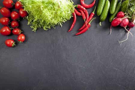 Vegetables on black background