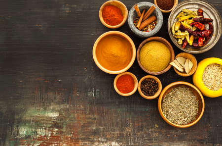 variety: Various spices on vintage board Stock Photo