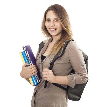 university: Student girl on isolated background