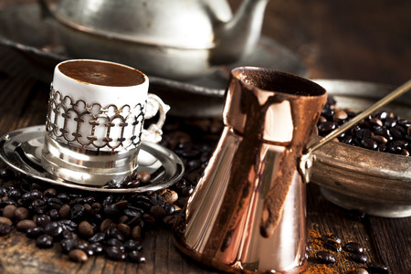 turkish coffee: Turkish coffee on wooden table Stock Photo