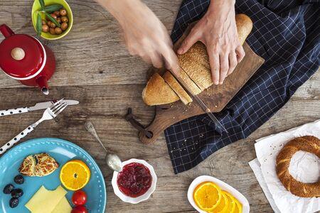 breakfast: Mesa de desayuno  Foto de archivo