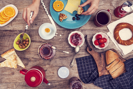 above: Breakfast time on wooden table