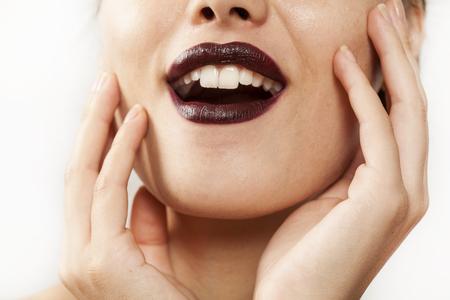 face close up: Beautiful young woman face close up view Stock Photo