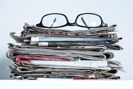 broadsheet: Stack of newspapers Stock Photo