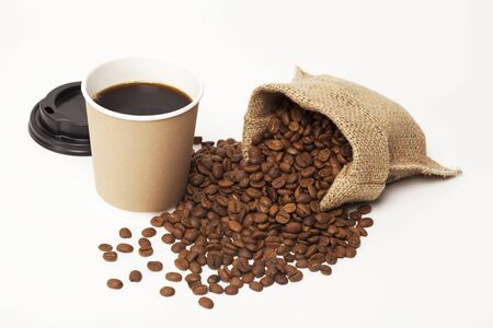 takeaway: Paper cup of coffee on white background