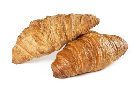 pastry crust: Fresh croissant on white background Stock Photo