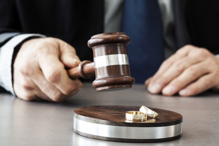 adultery: Judge with gavel on table Stock Photo