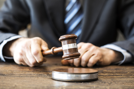 judicature: Judge with gavel on table Stock Photo