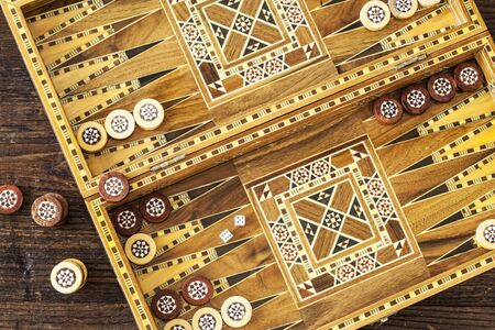 backgammon: Backgammon game with two dice Stock Photo