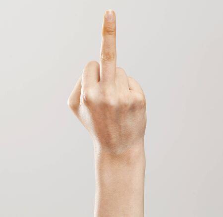 middlefinger: Woman hand showing middle finger