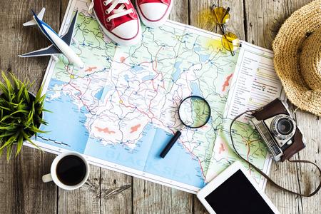 Concepto de planificación de viajes en el mapa