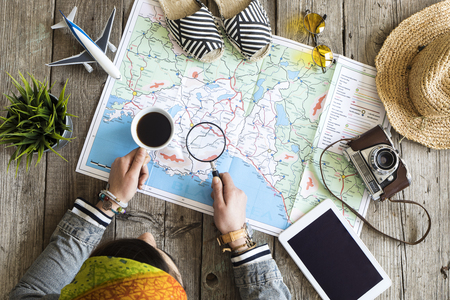 Travel planning concept on map Imagens - 74246865