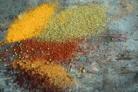 Spices and herbs on wooden background Stock Photo