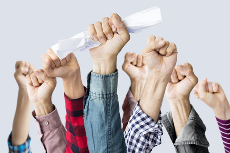 People raising their fists