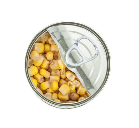 Corn preserves isolated white background Stock Photo