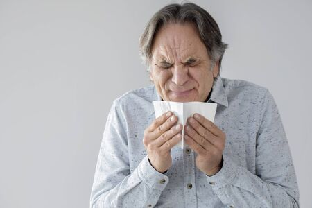 Elderly old man coughing