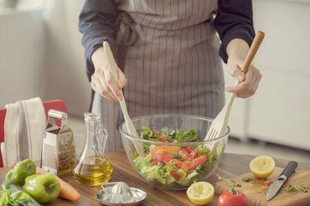 Healthy nutrition salad preparing concept