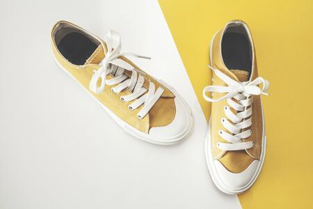 Canvas shoes high angle view 免版税图像