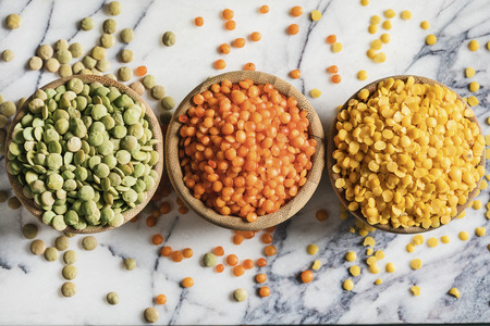 Red yellow green lentils high angle view