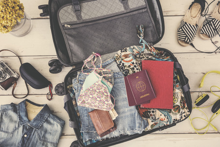 Summer travel preparation concept high angle view
