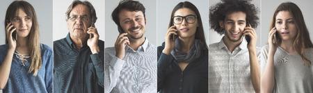 Mensen praten op mobiele telefoon Stockfoto