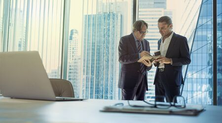 Business men discussing at the office