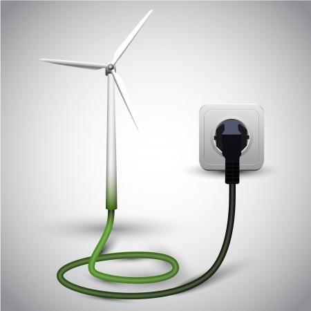 Wind turbine with socket Stock Vector - 17547753
