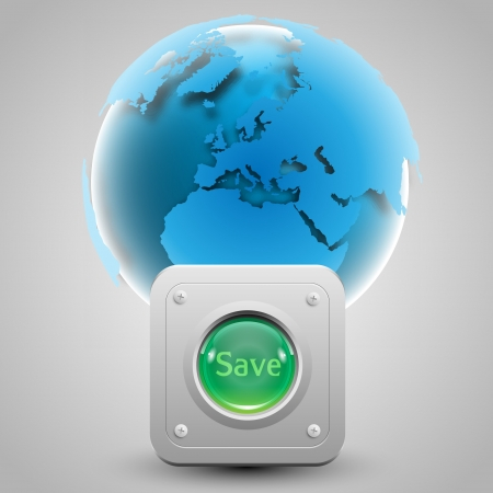 Save the Earth  button and the Earth Stock Vector - 17547909