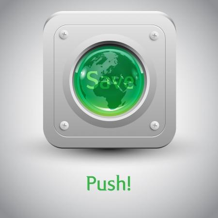 Save the Earth  button Stock Vector - 17547804