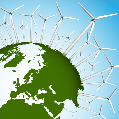 Green Earth and wind turbines concept illustration Vector