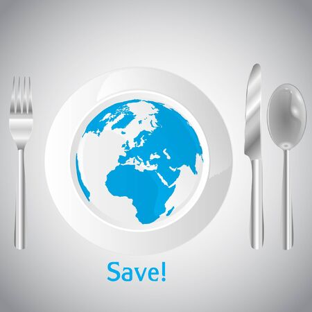 World on the clean white plate concept Vector