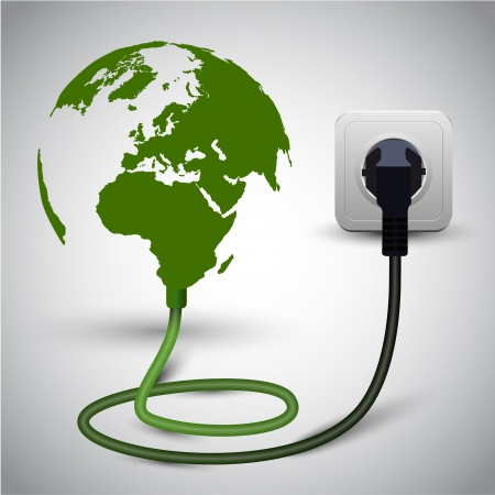 electric socket: illustration of earth globe with power cable