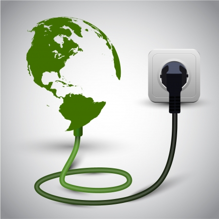 save electricity: illustration of earth globe with power cable