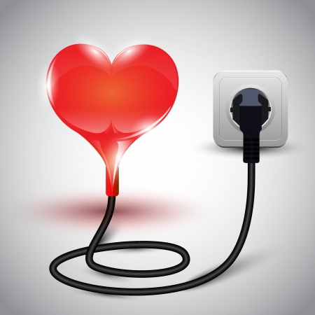 illustration of heart with power cable Illustration