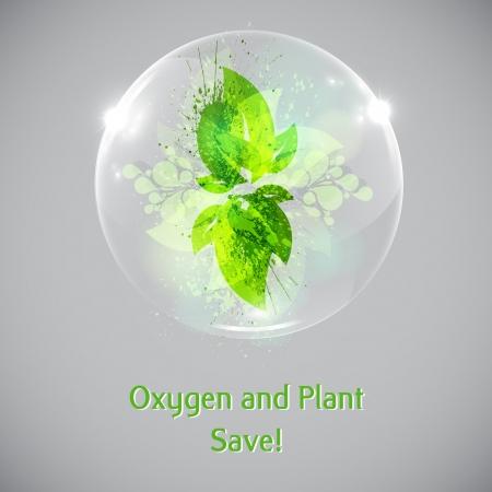 Plant en bladeren in een zeepbel