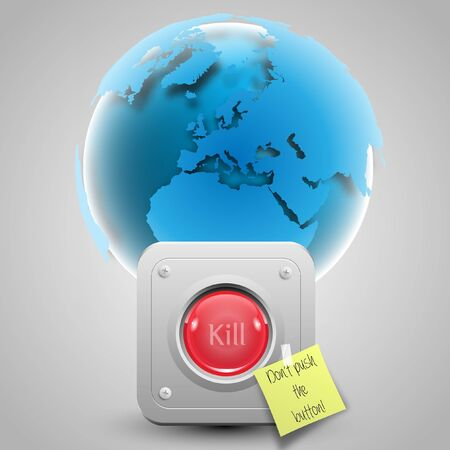 Don t kill the world with button and paper Stock Vector - 17547960