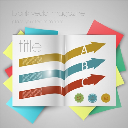 magazine template with arrows and stickers