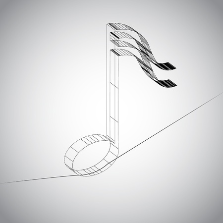 3D note on a wire Illustration